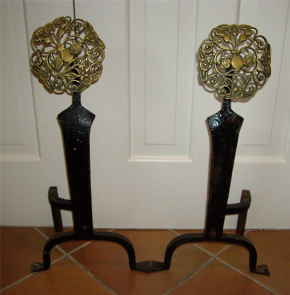 Vintage Art Nouveau Arts Crafts Brass Cast Iron Fireplace Urn Andirons Ebay