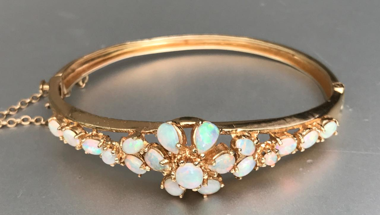 Vintage Gorgeous! Estate 14k Yellow Gold Opal Floral. Black Platinum Wedding Band. Claddagh Ring Sapphire. 18 Karat Gold Chains. Fish Hook Anklet. Button Necklace. Amethyst Earrings. Australian Emerald. Silicone Watches