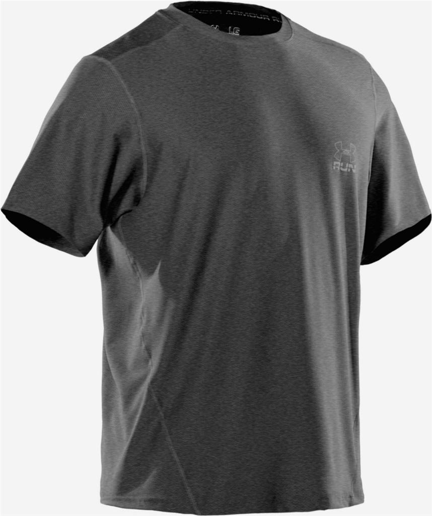 Mens 32 under armour heatgear running tee reflective logo for Gray under armour shirt