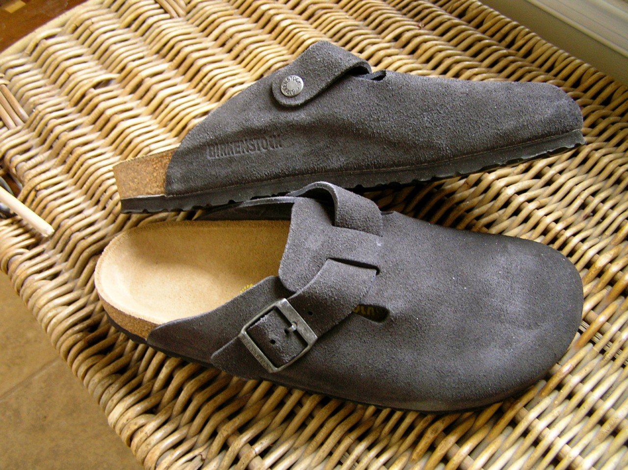 BIRKENSTOCK-BOSTON-Clogs-Suede-Leather-Gray-Size-Choice