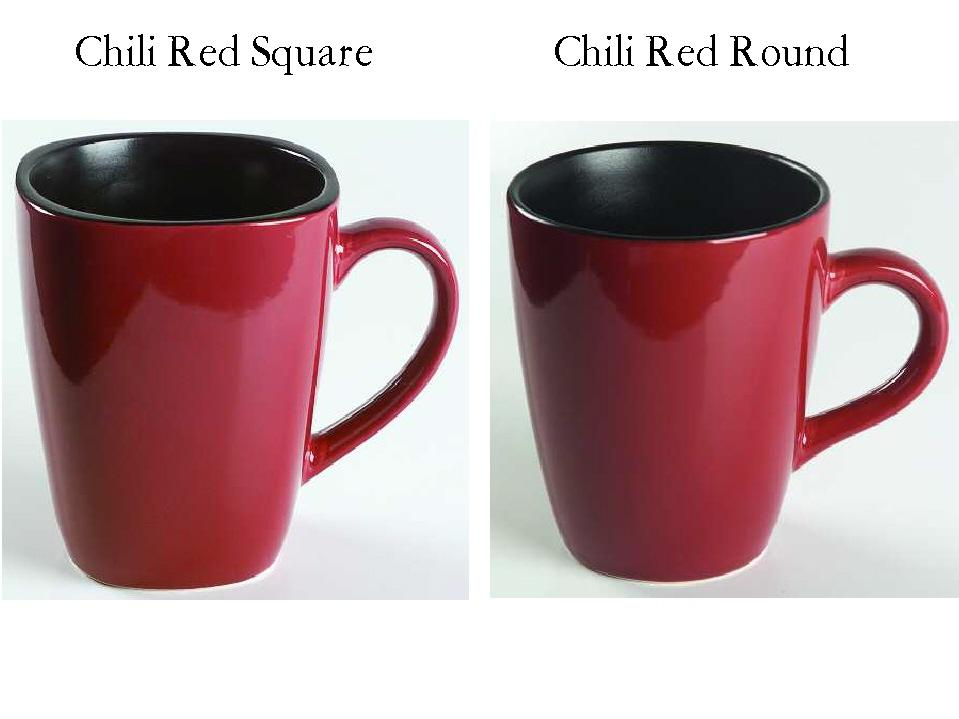 Corelle HEARTHSTONE 14oz CHILI RED Stoneware MUG SQUARE or ROUND ...