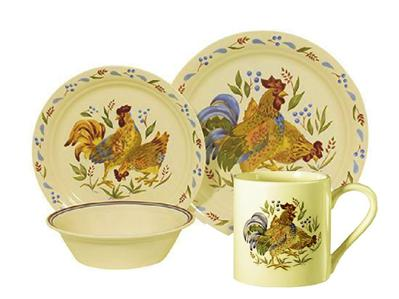 Corelle 16 PC Sandstone Beige Country Morning Rooster Dinnerware Set