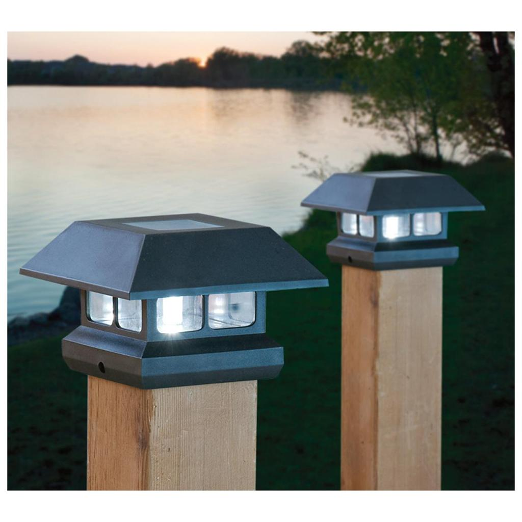 2 solar 4 post lights outdoor landscape fence railing