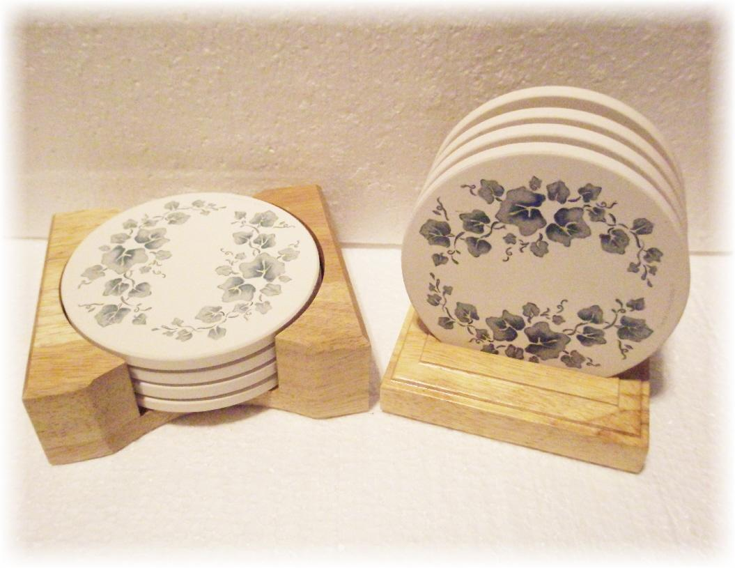 Corelle coordinates stoneware drink coaster set wood caddy holder beverage new ebay - Coaster sets for drinks ...