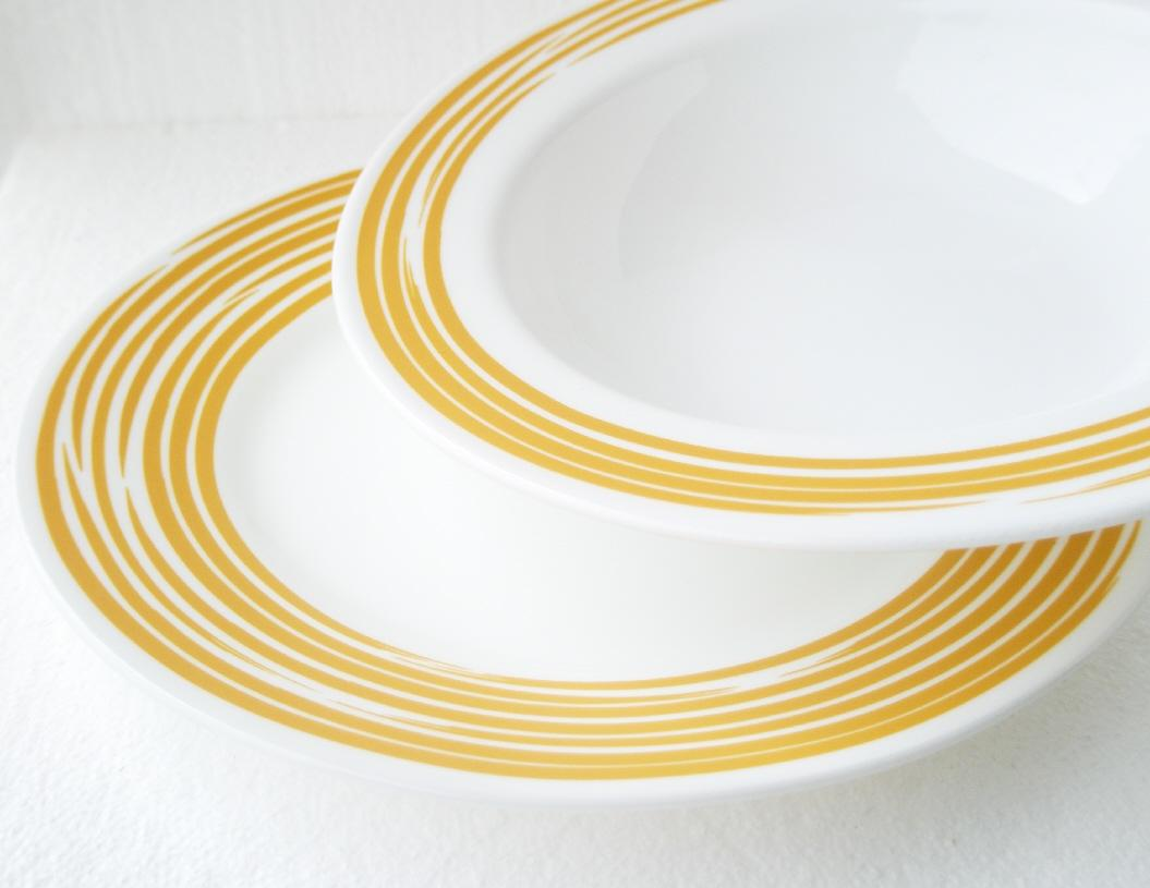 CORELLE Joy Manago BRUSHED STROKES 10 3/4 Wide Rim DINNER Plate *CHOICE of COLOR