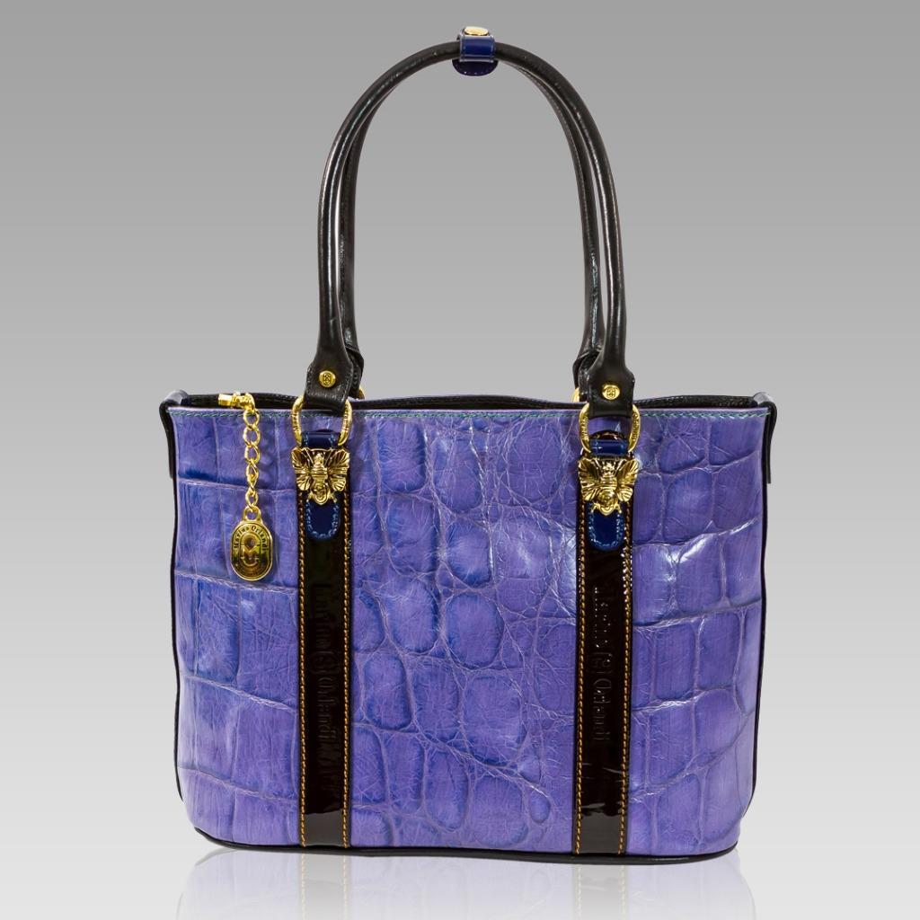 marino orlandi italian designer purple croc leather purse
