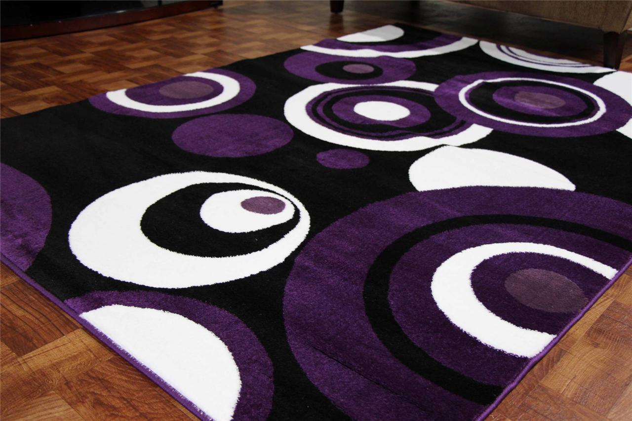 2529 purple black white 5x7 8x11 area rugs contemporary for Purple area rugs contemporary