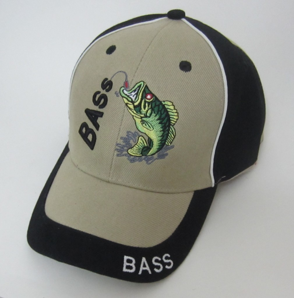 New 3d bass embroidered baseball cap hunting fishing for Fishing baseball caps
