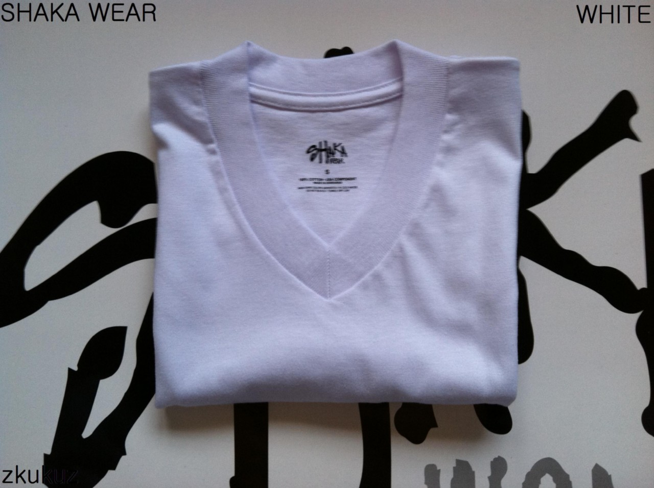 1 new shaka wear plain short sleeve v neck t shirt color for Plain colored v neck t shirts