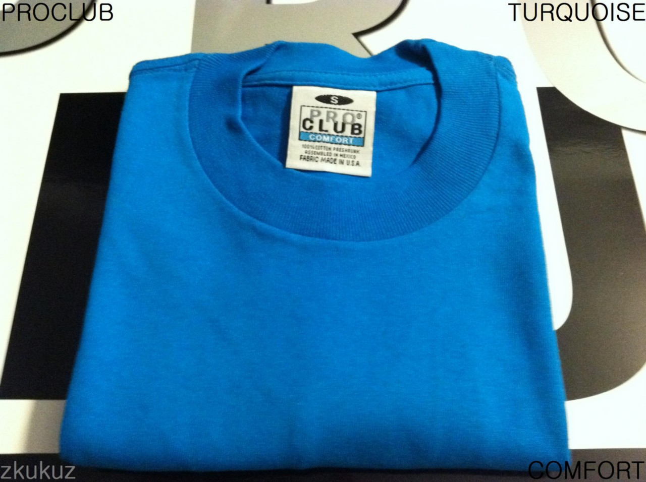 1 new proclub comfort plain t shirt blank turquoise tee for T shirts for clubs