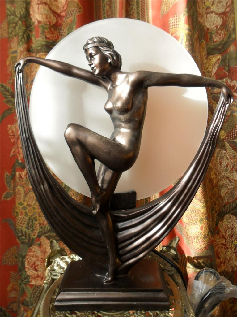 ART DECO BRONZE ANTIQUE LADY TABLE LAMP FLAPPER STATUE
