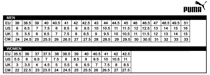 puma running tights size chart