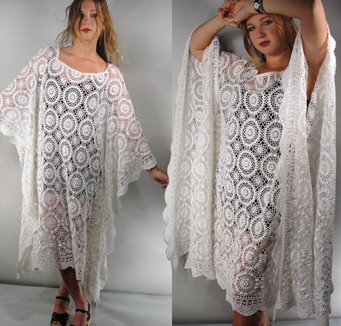 White crochet 3d rose lace kaftan plus angel sleeves dress for White kaftan wedding dress