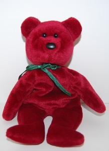 ty beanie babies cranberry new face teddy bear rare. Black Bedroom Furniture Sets. Home Design Ideas