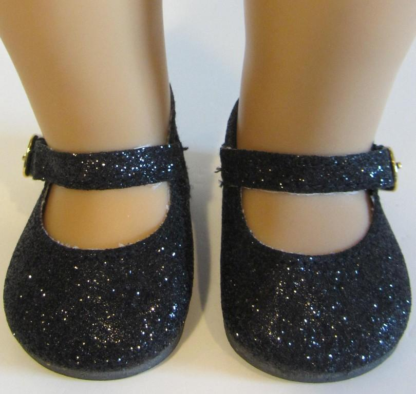 black glitter sparkle doll shoes fits american doll