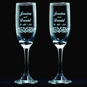 personalized vintage scroll wedding toasting flutes engraved champagne