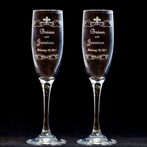 personalized fleur de lis wedding toasting flutes engraved. Black Bedroom Furniture Sets. Home Design Ideas