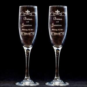 personalized fleur de lis wedding toasting flutes engraved. Black Bedroom Furniture Sets. Home Design Ideas