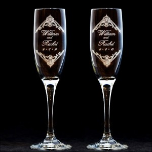 personalized vintage 3 design wedding toasting flutes. Black Bedroom Furniture Sets. Home Design Ideas