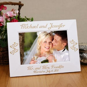 Personalized Wedding Picture Frame Engraved White Wedding Photo Frame ...