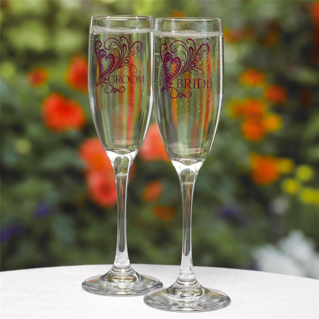 personalized wedding toasting flutes purple flourish engraved champagne glasses ebay. Black Bedroom Furniture Sets. Home Design Ideas