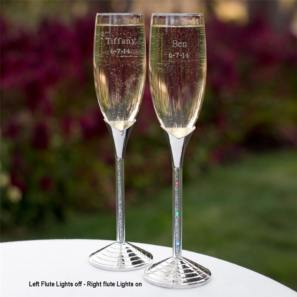 Personalized lighted wedding toasting flutes led light glitter champagne glasses ebay - Flute a champagne led ...