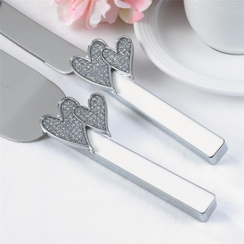 wedding cake server set engraved glitter bling hearts cake server