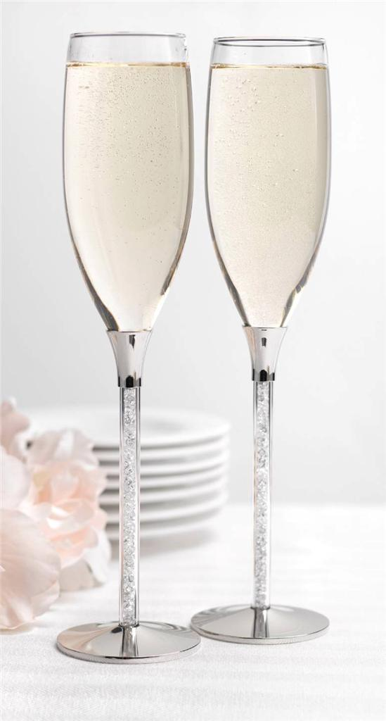 Personalized Wedding Toasting Flutes Glittering Beads Engraved Champagne Glas