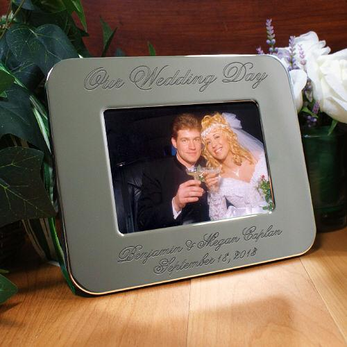 ... Wedding Day Picture Frame Engraved Silver Wedding Photo Frame eBay