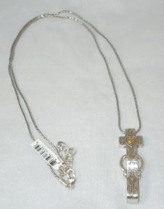 Brighton devoted cross badge holder long necklace nwt ebay for Brighton badge holder jewelry