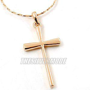 18K Rose Gold Plated Plain Cross Necklace 10893