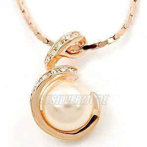 18K Rose Gold Plated White Pearl Necklace 10956