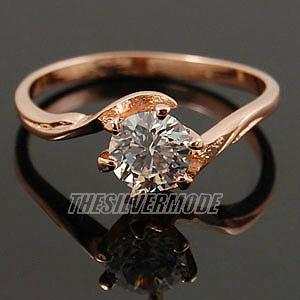 18K Rose Gold Plated Clear CZ Solitaire Ring 11714