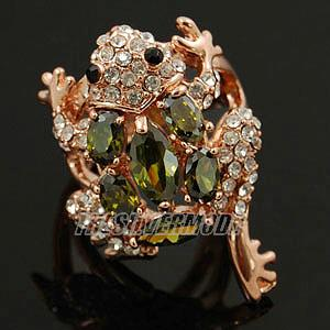 18K White/Rose Gold Plated Cubic Zirconia Frog Fashion Cocktail Ring 11720