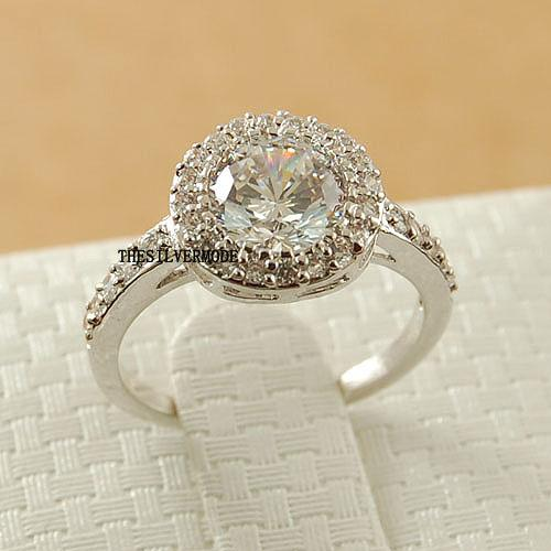 18K White Gold Plated Clear Cubic Zirconia Wedding Engagement Ring 13706 EBay