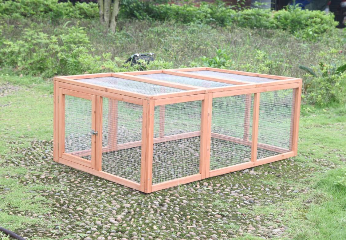 Outdoor wood run cage coop enclosure for bunny rabbit for Outdoor guinea pig cage