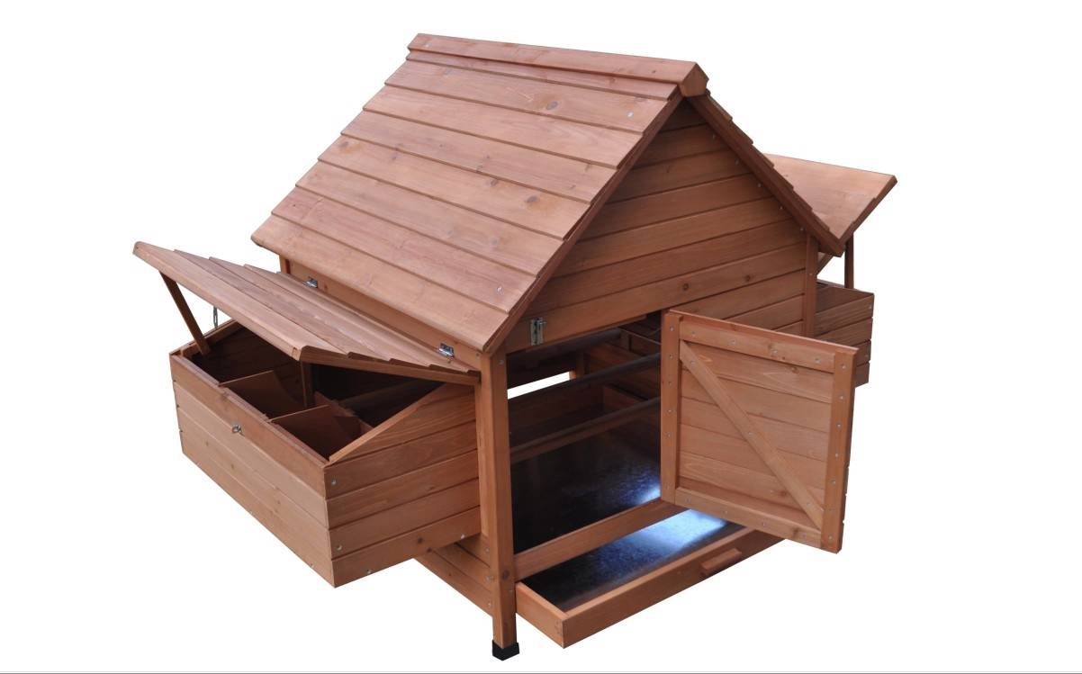 Large 8 39 wood chicken coop backyard hen house 6 10 for Chicken coop for 8 10 chickens