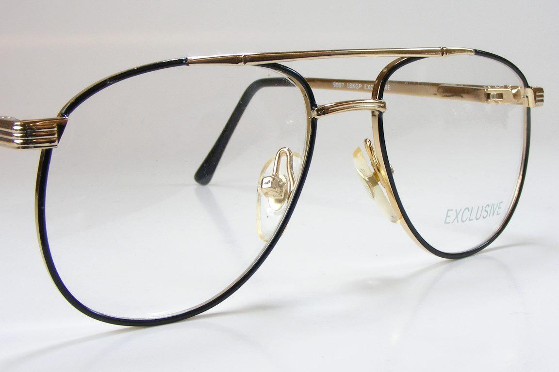 Aviator Eyeglasses Frame : 18K Gold Plate Pilot Aviator Black Tortoise Eyeglass Frame ...