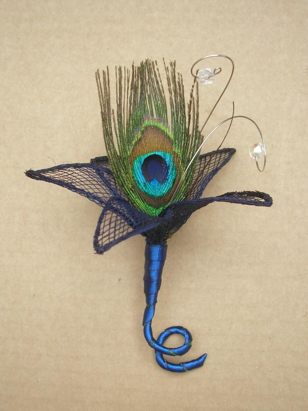 ONE Peacock Buttonhole Corsage trimmed in Navy Blue or Teal Wedding eBay