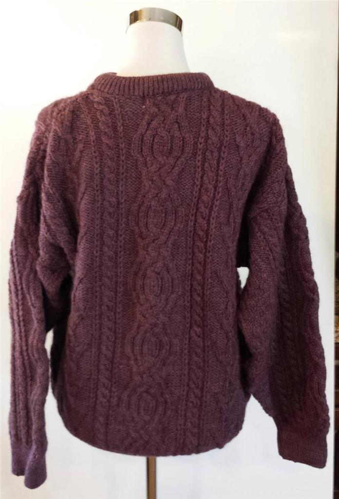 Aran crafts heavy cable knit wool crewneck fisherman for Aran crafts fisherman sweater