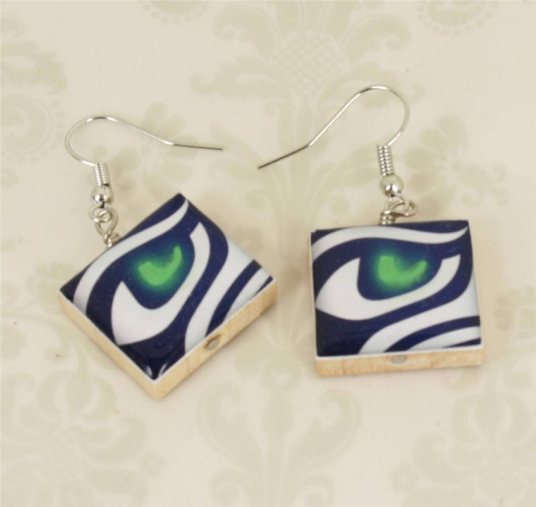 Seattle Seahawks Hawk Eye Necklace, Cufflinks, Ring or Earrings - You Choose