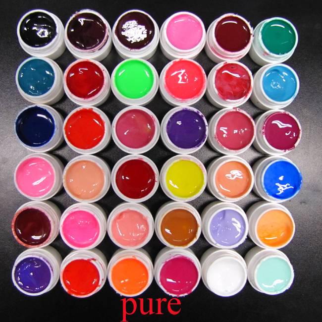 36 Pure Gel Ricostruzione Unghie UV Nail Art Gel UV Colorati Manicure+Lampada UV