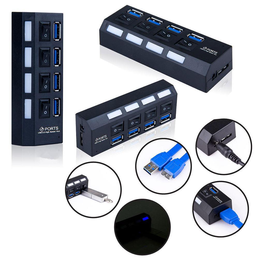 4 port usb 3 0 hub verteiler adapter mit usb kabel. Black Bedroom Furniture Sets. Home Design Ideas