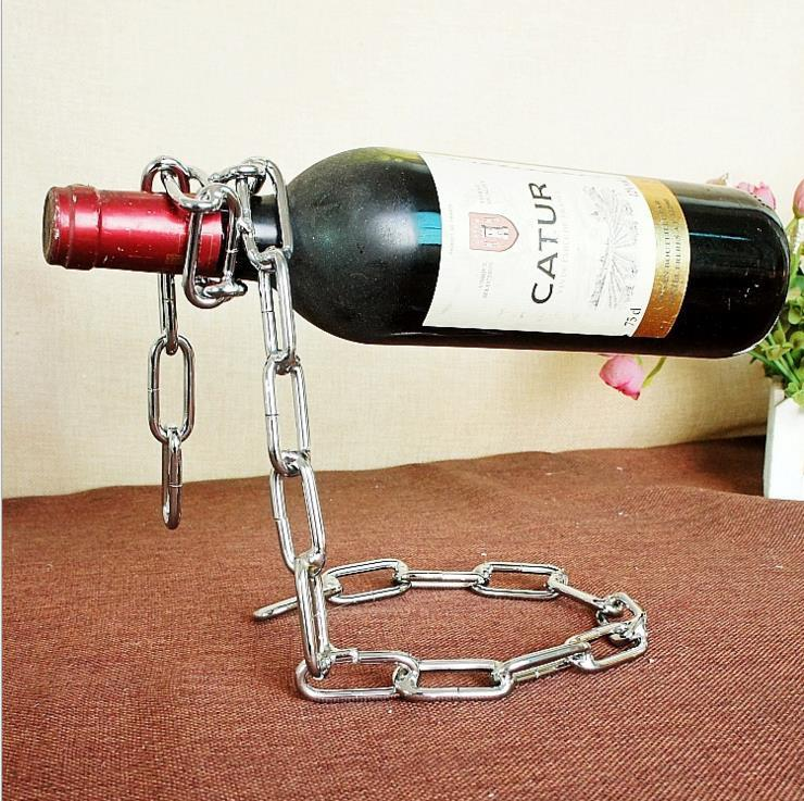 Magic illusion floating silvr chain wine bottle holder stand rack homedecoration - Wine rack shaped like wine bottle ...