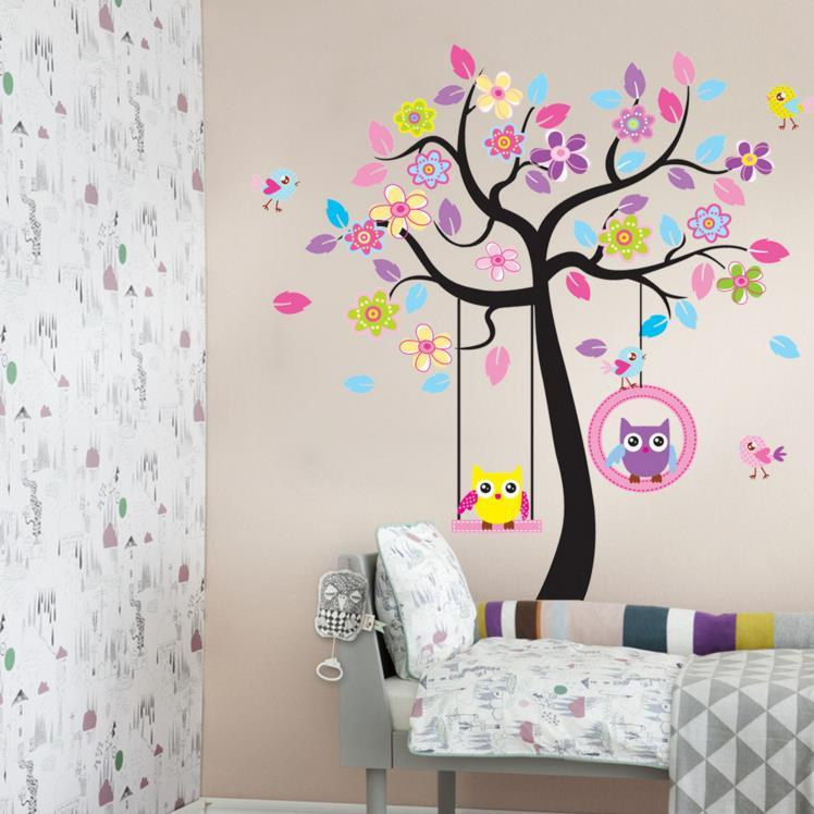 wandtattoo zooyoo wandsticker baum eule deko kinderzimmer. Black Bedroom Furniture Sets. Home Design Ideas