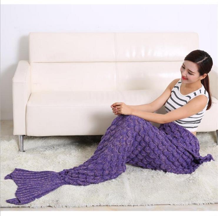 Handgefertigte Gehäkelte Mermaid SchwanzSofaDecke Knit