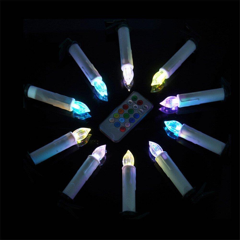 10x bunt led baumkerzen kabellos lichterkette for Weihnachtsbeleuchtung led kabellos