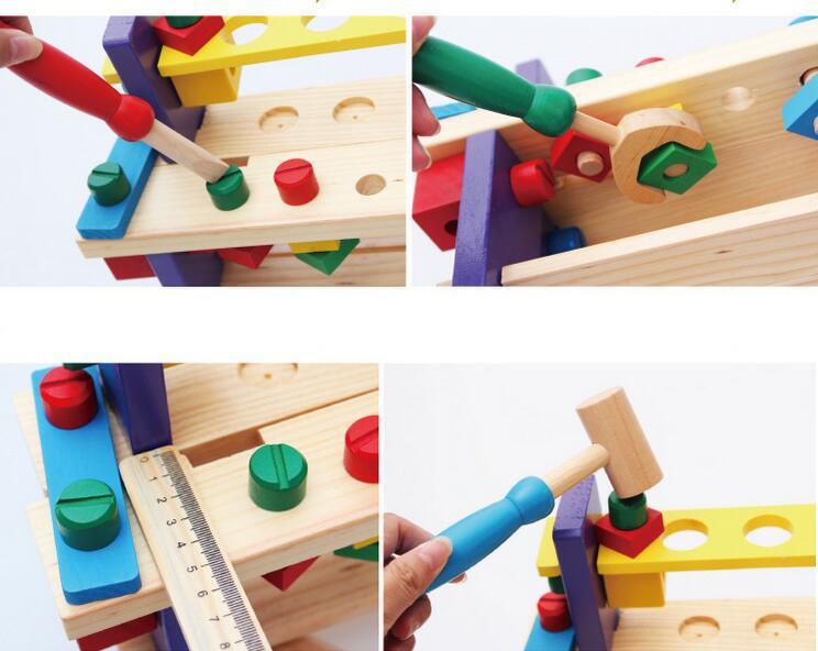 kids children wooden diy work bench learning tool set toy small ebay. Black Bedroom Furniture Sets. Home Design Ideas