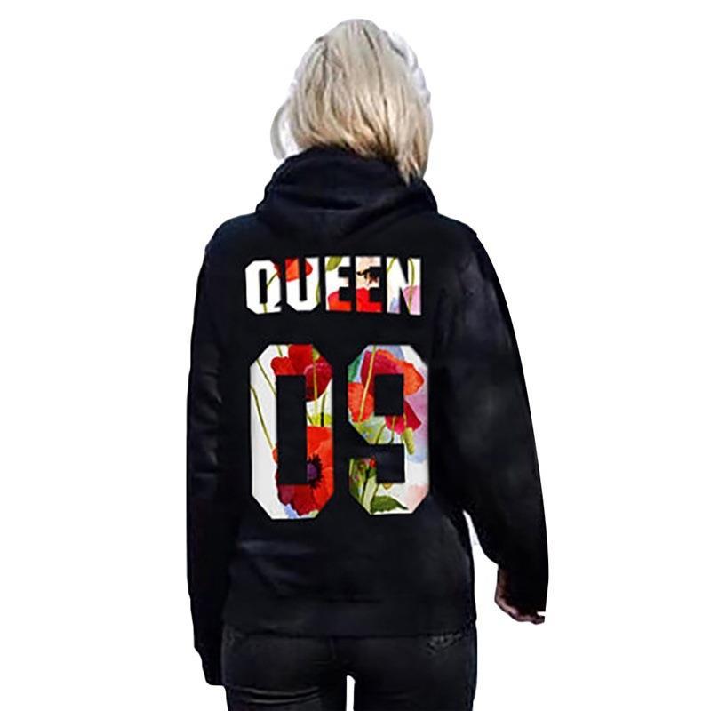 de king queen sweatshirt hoodie kapuzen pullover damen. Black Bedroom Furniture Sets. Home Design Ideas