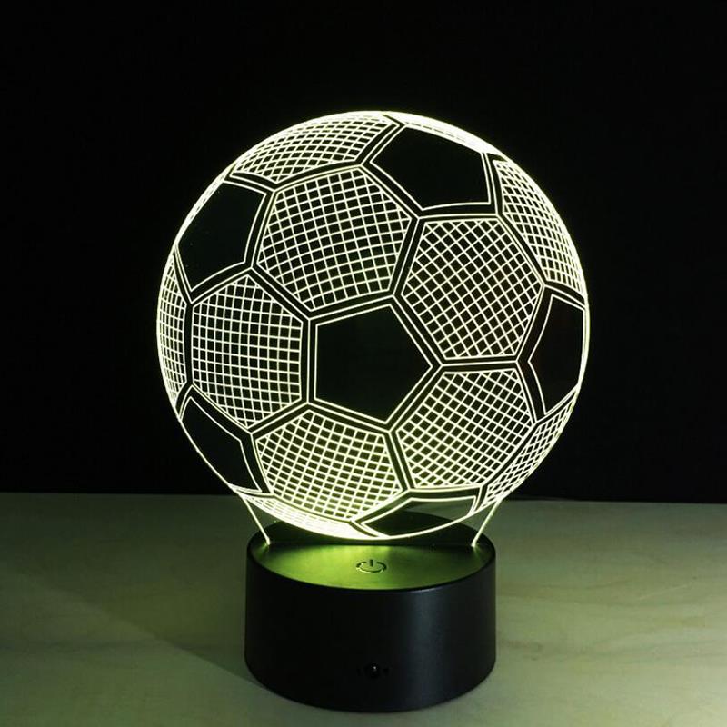 Fu ball 3d led usb nachtlicht tischlampe 7 farbwechsel for Leselampe designklassiker